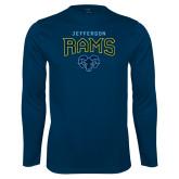 Performance Navy Longsleeve Shirt-Jefferson Rams