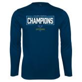 Performance Navy Longsleeve Shirt-2018 Mens Basketball Champions - Box