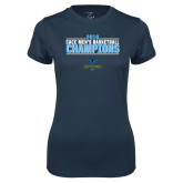 Ladies Syntrel Performance Navy Tee-2018 Mens Basketball Champions Stacked