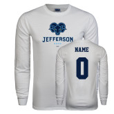 Philadelphia White Long Sleeve T Shirt-Primary Mark, Custom Tee w/ Name and #
