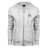 ENZA Ladies White Fleece Full Zip Hoodie-Ram Head