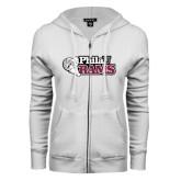 ENZA Ladies White Fleece Full Zip Hoodie-PhilaU Rams