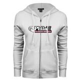 ENZA Ladies White Fleece Full Zip Hoodie-Formal Athletics Logo