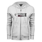 ENZA Ladies White Fleece Full Zip Hoodie-PhilaU Athletics