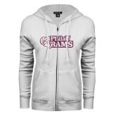ENZA Ladies White Fleece Full Zip Hoodie-PhilaU Rams Pink Glitter