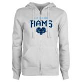 ENZA Ladies White Fleece Full Zip Hoodie-Jefferson Rams