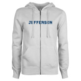 ENZA Ladies White Fleece Full Zip Hoodie-Jefferson