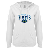 ENZA Ladies White V Notch Raw Edge Fleece Hoodie-Jefferson Rams