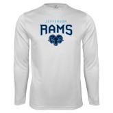 Performance White Longsleeve Shirt-Jefferson Rams