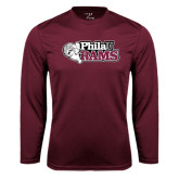 Performance Maroon Longsleeve Shirt-PhilaU Rams