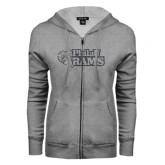 ENZA Ladies Grey Fleece Full Zip Hoodie-PhilaU Rams Graphite Glitter