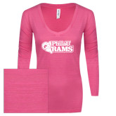 ENZA Ladies Hot Pink Long Sleeve V Neck Tee-PhilaU Rams