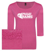 Ladies Dark Fuchsia Heather Tri Blend Lace 3/4 Sleeve Tee-PhilaU Rams