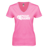 Next Level Ladies Junior Fit Deep V Pink Tee-PhilaU Rams