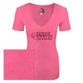 Next Level Ladies Vintage Pink Tri Blend V-Neck Tee-PhilaU Rams Hot Pink Glitter