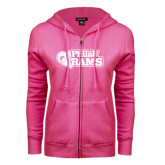 ENZA Ladies Fuchsia Fleece Full Zip Hoodie-PhilaU Rams