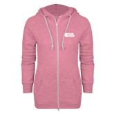 ENZA Ladies Hot Pink Marled Full Zip Hoodie-PhilaU Rams