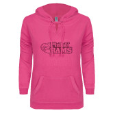 ENZA Ladies Hot Pink V Notch Raw Edge Fleece Hoodie-PhilaU Rams Hot Pink Glitter