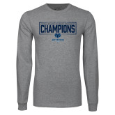 Grey Long Sleeve T Shirt-2018 Mens Basketball Champions - Box