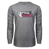 Grey Long Sleeve T Shirt-PhilaU Rams