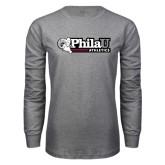 Grey Long Sleeve T Shirt-PhilaU Athletics
