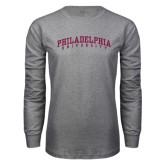 Grey Long Sleeve T Shirt-Arched Philadelphia University