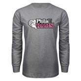 Grey Long Sleeve T Shirt-PhilaU Rams Distressed