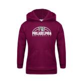 Youth Maroon Fleece Hoodie-Philadelphia University Basketball Half Ball