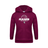 Youth Maroon Fleece Hoodie-Rams Volleyball Stacked