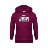 Youth Maroon Fleece Hoodie-Fear The Rams