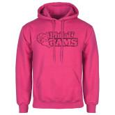 Fuchsia Fleece Hoodie-PhilaU Rams Hot Pink Glitter