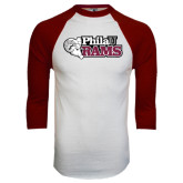 White/Maroon Raglan Baseball T Shirt-PhilaU Rams