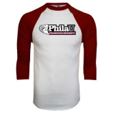 White/Maroon Raglan Baseball T Shirt-Formal Athletics Logo