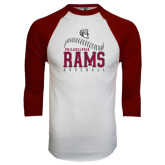 White/Maroon Raglan Baseball T Shirt-Philadelphia Rams Baseball Seam Design