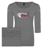 Ladies Grey Heather Tri Blend Lace 3/4 Sleeve Tee-PhilaU Rams