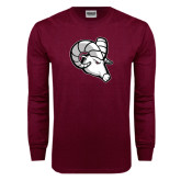 Maroon Long Sleeve T Shirt-Ram Head