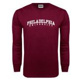 Maroon Long Sleeve T Shirt-Arched Philadelphia University