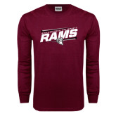 Maroon Long Sleeve T Shirt-Slanted Rams Stencil w/ Logo