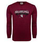 Maroon Long Sleeve T Shirt-Philadelphia University Arched Shield