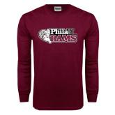 Maroon Long Sleeve T Shirt-PhilaU Rams Distressed