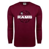 Maroon Long Sleeve T Shirt-Rams Basketball Lined Ball