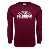 Maroon Long Sleeve T Shirt-Philadelphia University Basketball Half Ball
