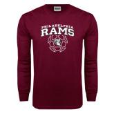 Maroon Long Sleeve T Shirt-Philadelphia Rams Soccer Geometric Ball