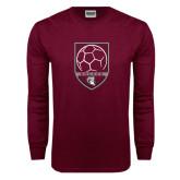 Maroon Long Sleeve T Shirt-Soccer Shield