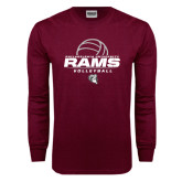 Maroon Long Sleeve T Shirt-Rams Volleyball Stacked