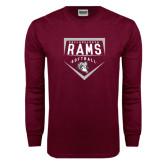 Maroon Long Sleeve T Shirt-Philadelphia Rams Softball Plate Design