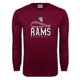 Maroon Long Sleeve T Shirt-Philadelphia Rams Baseball Seam Design