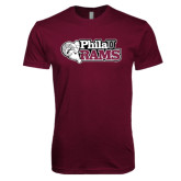 Next Level SoftStyle Maroon T Shirt-PhilaU Rams