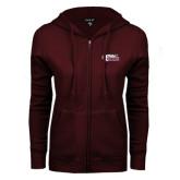 ENZA Ladies Maroon Fleece Full Zip Hoodie-PhilaU Rams