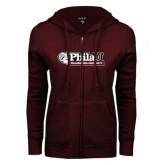 ENZA Ladies Maroon Fleece Full Zip Hoodie-Formal Athletics Logo